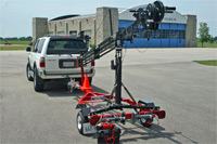 Our camera jib tows behind a vehicle for easy setup and positioning.